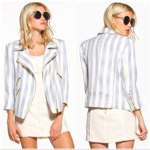 Line Dot Kelly Moto Blue White Striped Jacket